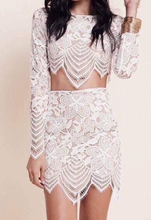 Image of LACE TWO PIECE DRESS