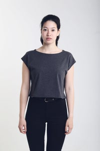 Image of Women's Crop Top - Made in Germany, 100% Organic Cotton in Melange Black