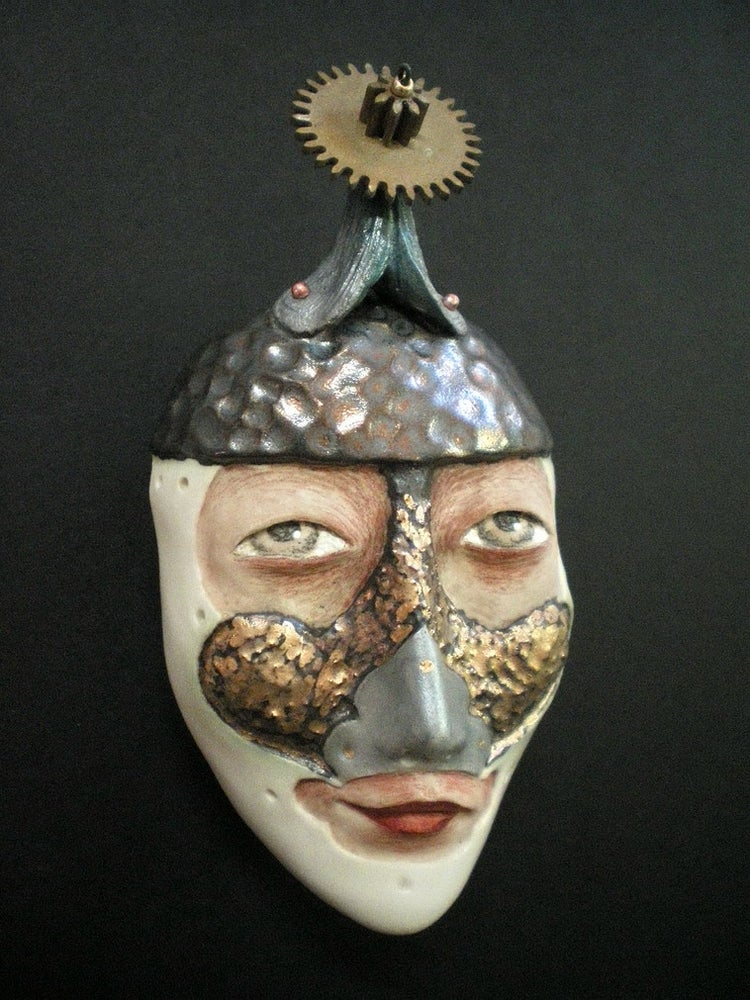 Image of Choose Your Battles - Mask Sculpture, Ceramic Face Pendant, Original Mask Art