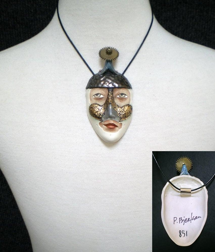 Image of Choose Your Battles - Mask Sculpture, Ceramic Face Pendant, Original Mask Art