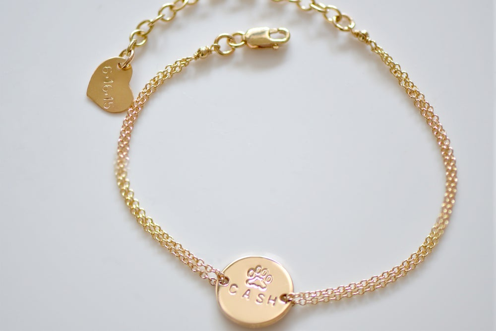 Image of Gold / Silver Disc Initial Bracelet - Personalized Dainty Gold Bracelet