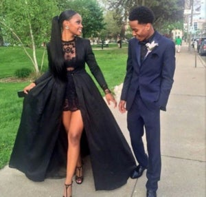 Image of Custom Made Black Lace Prom Dresses, Black Lace Party Dresses