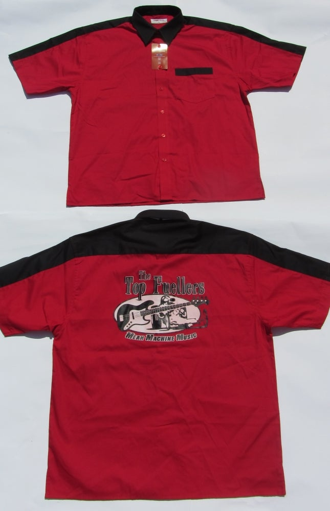Image of Bowling Shirt, BACK PRINT, Red with Black Trim