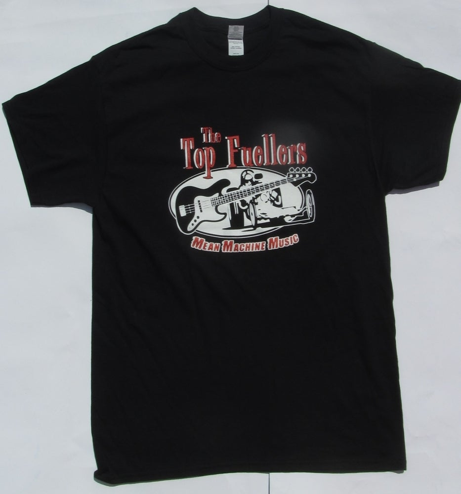 Image of Guitar and Dragster, FRONT PRINT on Black T shirt