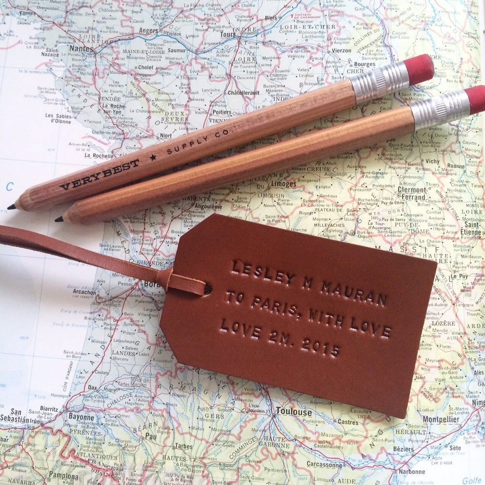 Image of The Bon Voyage Hand Stamped Luggage Tags