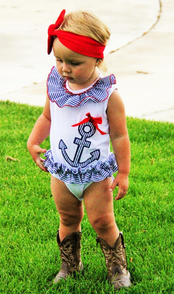 Image of Red White and Blue Anchor Ruffle Onesie