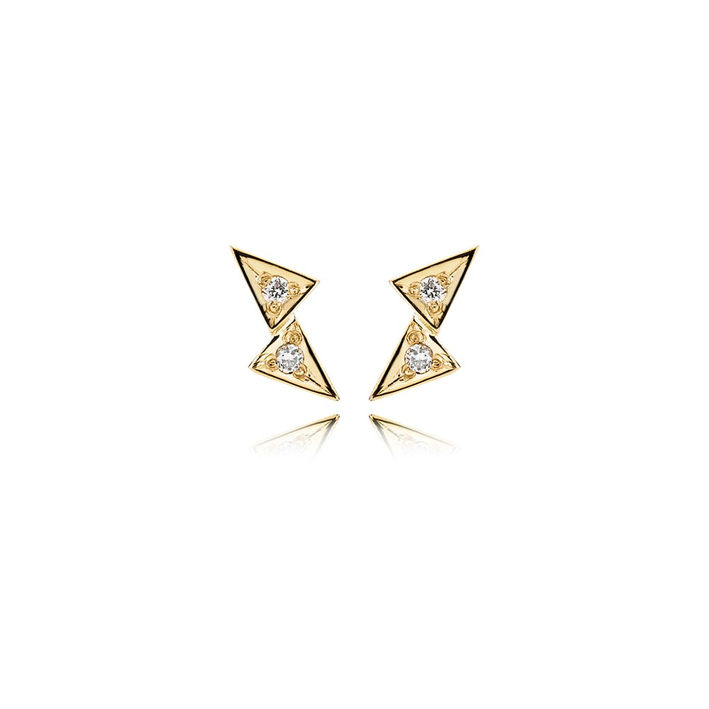 Image of Double Tria Earrings, 18K yellow gold