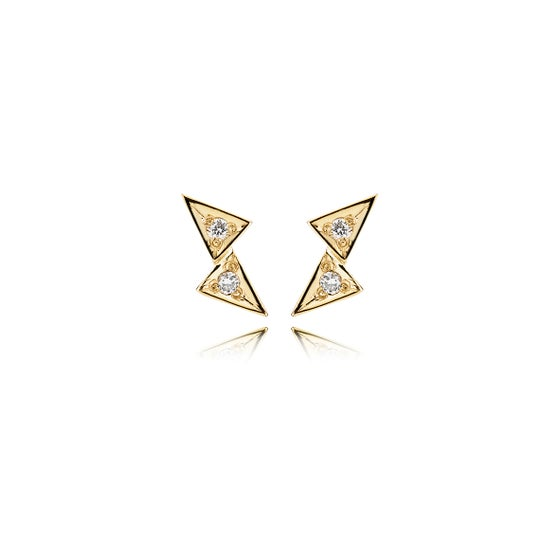 Image of Double Tria Gold Earrings