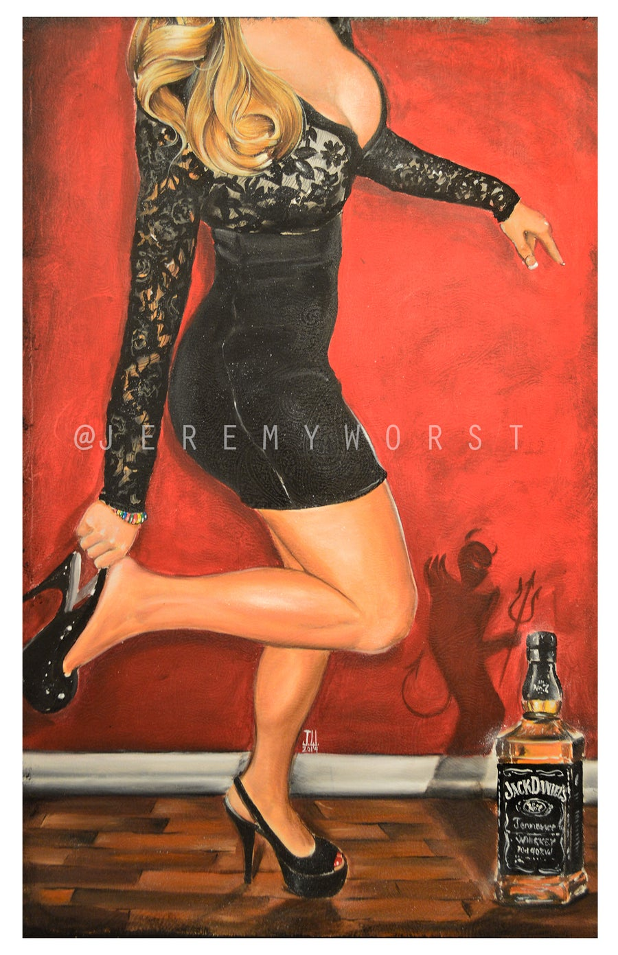 Image of JEREMY WORST Dancing with the Devil Again Artwork Signed Poster Print poster size jack daniels