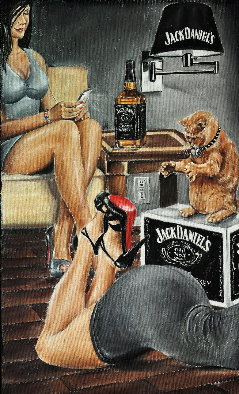 Image of JEREMY WORST Dat Ass Original Artwork Signed Framed Print jack Daniels