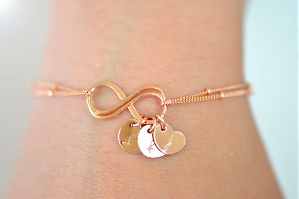 Image of Personalized Rose Gold Double Infinity Bracelet , Satellite Chain