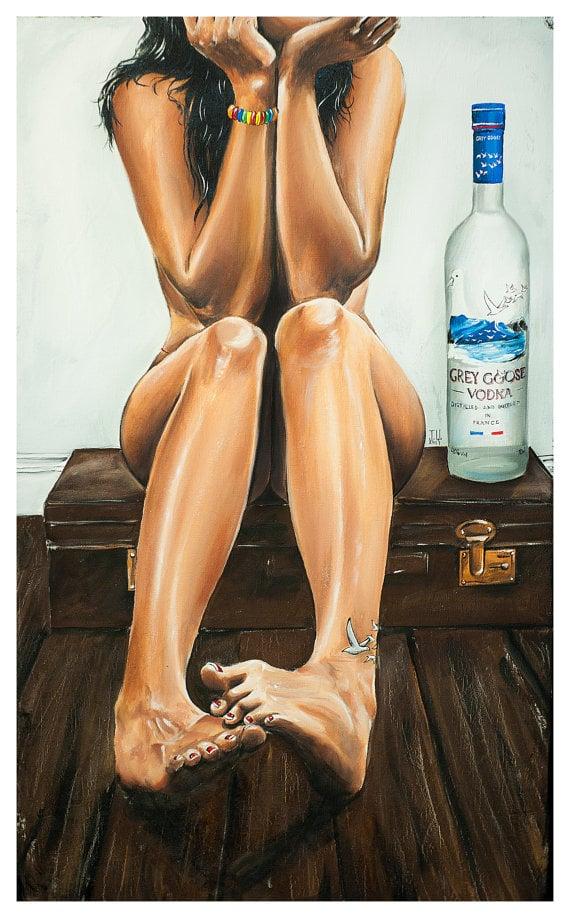 Image of JEREMY WORST Naked Goose Grey Goose Original Sexy girl Artwork
