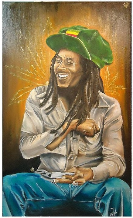 Image of JEREMY WORST Bob Marley Rastaman Rasta Original Artwork Signed Print poster PAINTING ART WALL