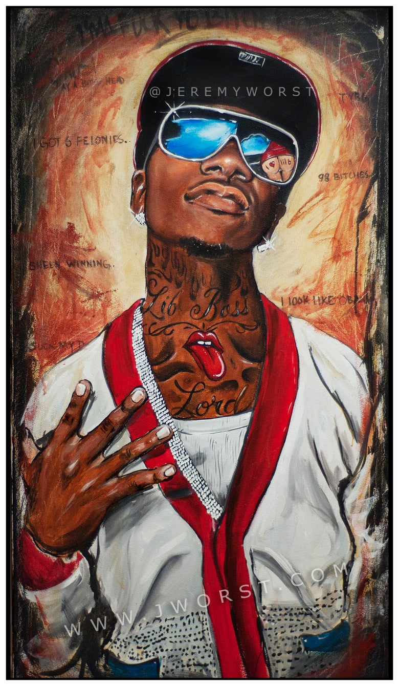 Image of JEREMY WORST Lil B the BasedGod Original Artwork Signed Print poster