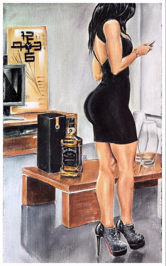 Image of JEREMY WORST Sinatra jack Daniels Original Artwork Signed Print poster