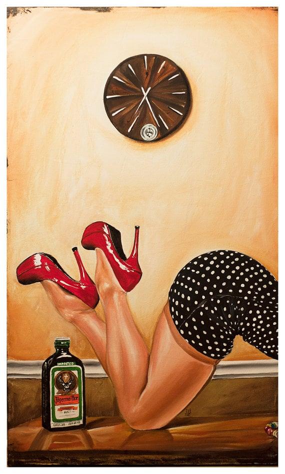Image of JEREMY WORST Jager Time Jagermeister Original Artwork Signed Print poster