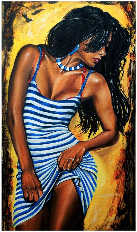 Image of JEREMY WORST Blue Stripes Original Artwork Signed Print poster