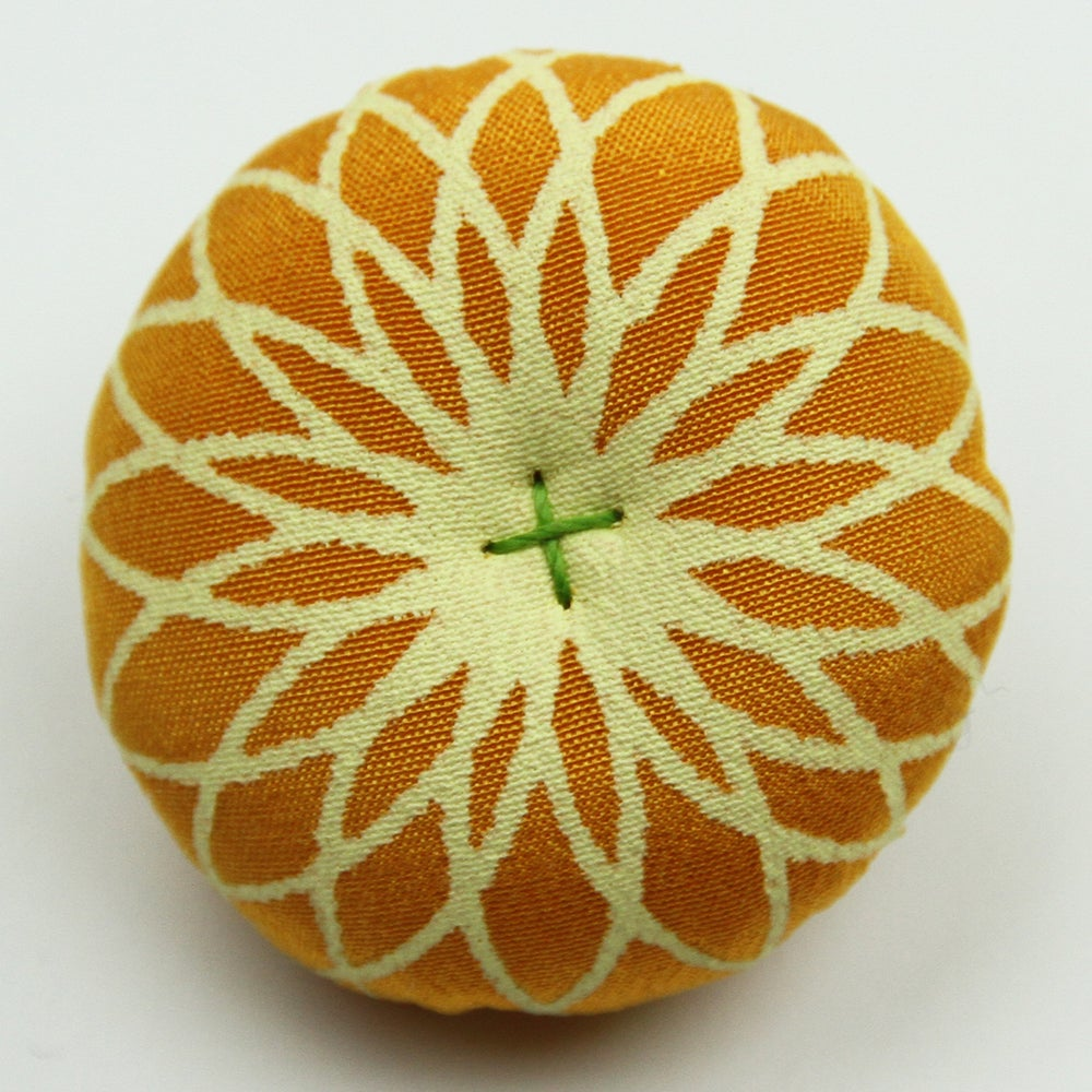 Image of Silk brooches in various colours, orange - turquoise