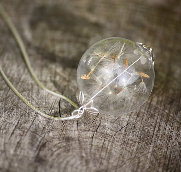 Sterling Silver Dandelion Seed 'Wish' Glass Necklace Charm - Laura Pettifar Designs