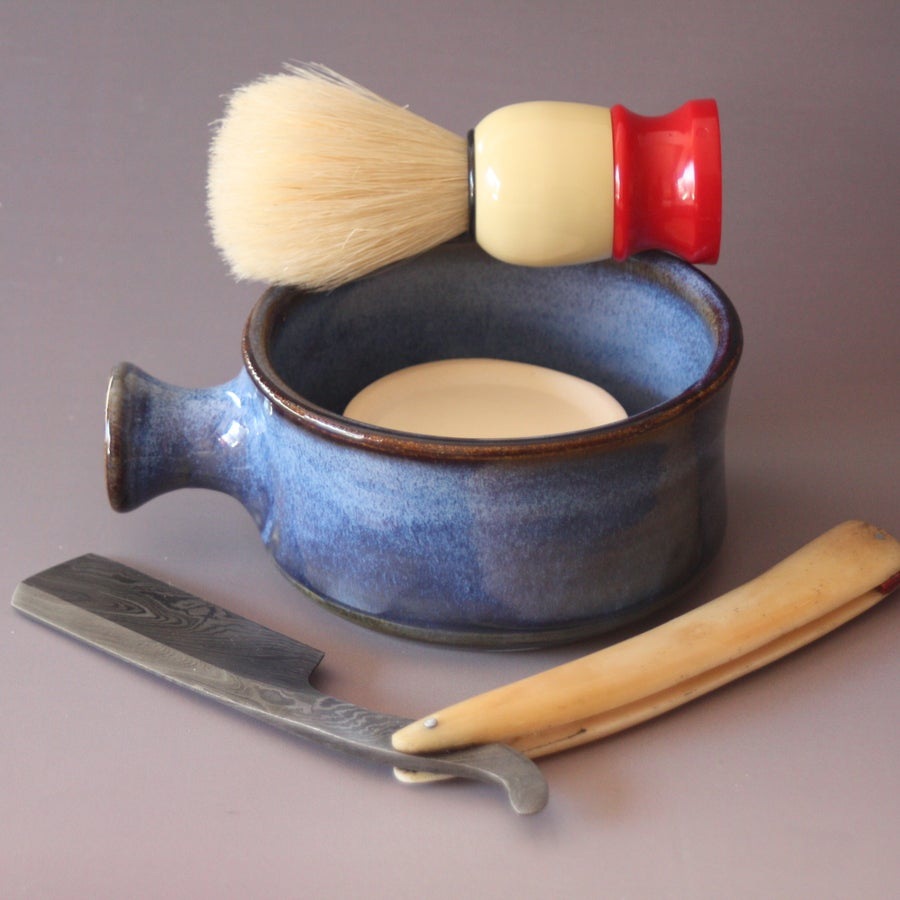 Image of Ceramic Shaving Mug / Ridges for a Good Lather / Comfortable Handle / Made to Order