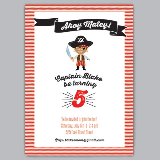 Image of Arrrr Matey Birthday Party Invitations + Envelopes