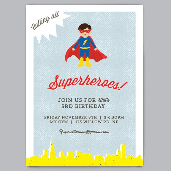 Image of Superhero Birthday Invitation + Envelopes
