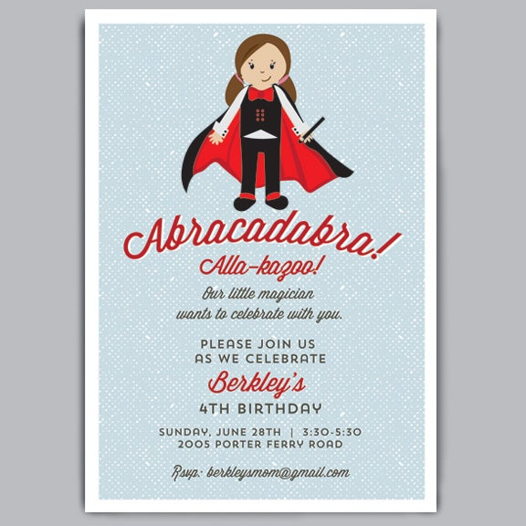Image of Abracadabra Birthday Invite + Envelopes
