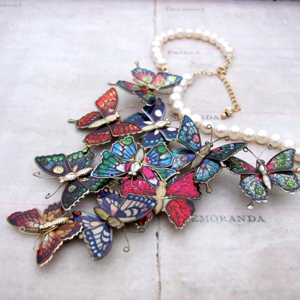 Vintage Butterfly Statement Necklace - Laura Pettifar Designs