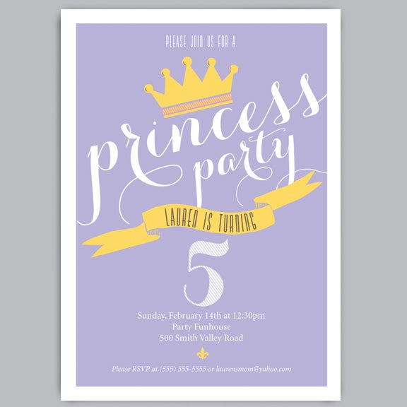 Image of Princess Birthday Party Invitations + Envelopes