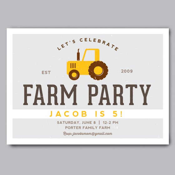 Image of Farm Party Birthday Invitation + Envelopes