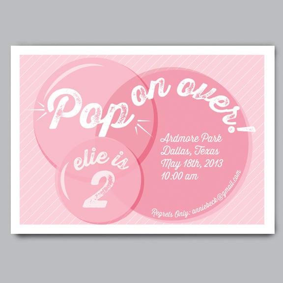 Image of Pop On Over Birthday Invitation + Envelopes