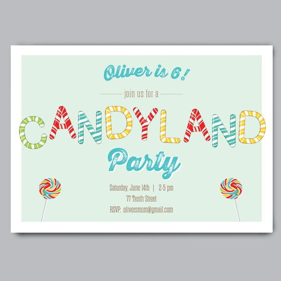 Candy Land Birthday Party Invitation Envelopes