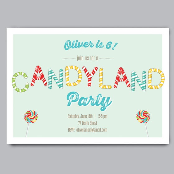 Image of Candy Land Birthday Party Invitation + Envelopes