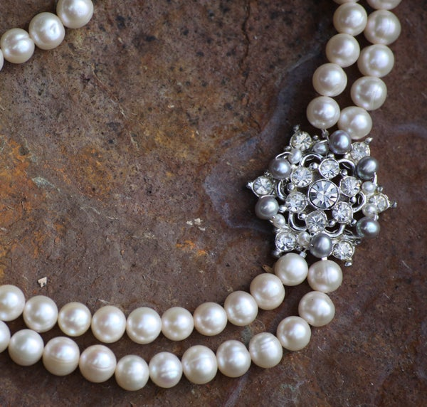 Abby Vintage Diamante & Pearl Wedding Choker Necklace - Laura Pettifar Designs