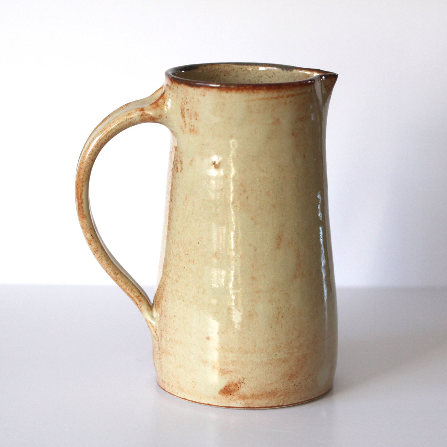 Image of Ceramic Pitcher / Pottery Pitcher / Doubles as a Vase / Shino Vase / 7 inch Pitcher