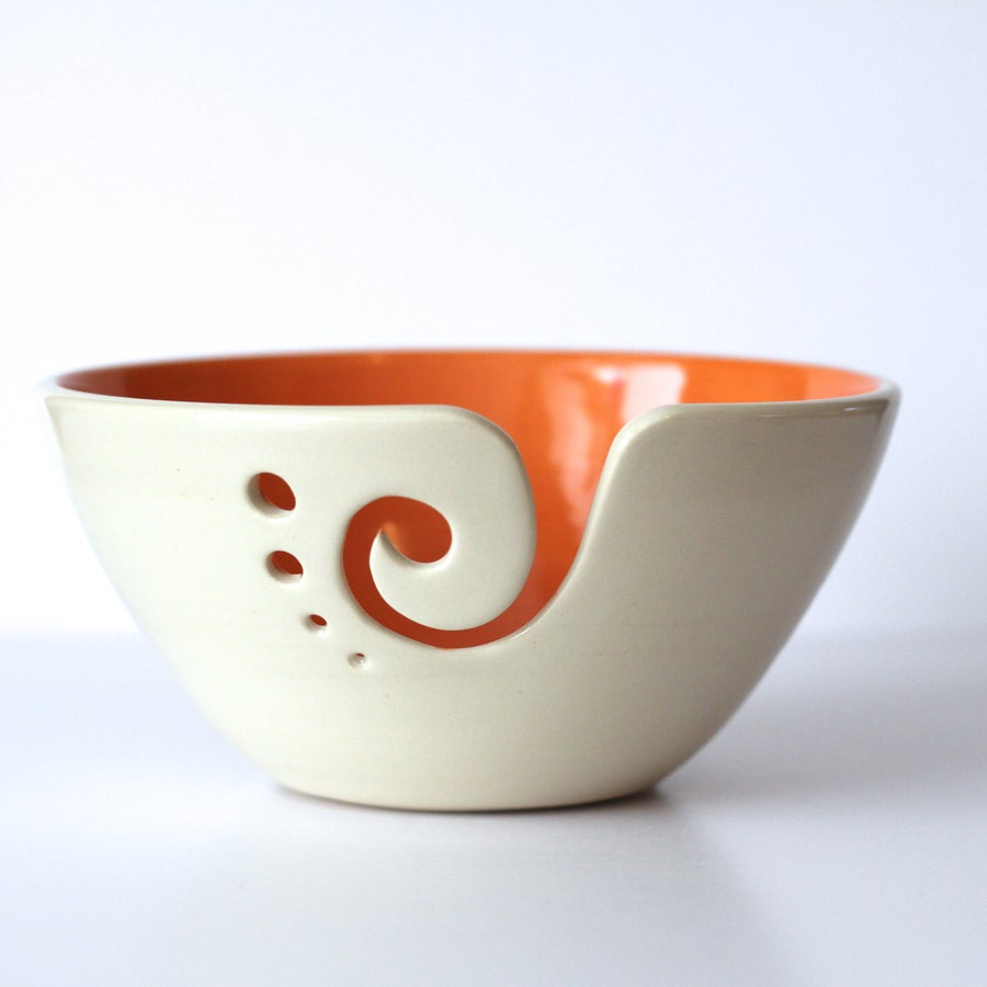 Image of Orange Yarn Bowl / Knitting Bowl /Orange and White Yarn Bowl / 6 inch Yarn Bowl / Ready to Ship