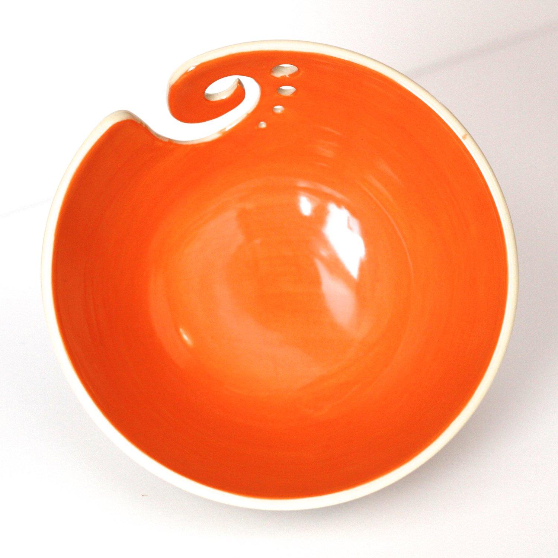 Image of Orange Yarn Bowl / Knitting Bowl /Orange and White Yarn Bowl / 6 inch Yarn Bowl / Ready to Ship