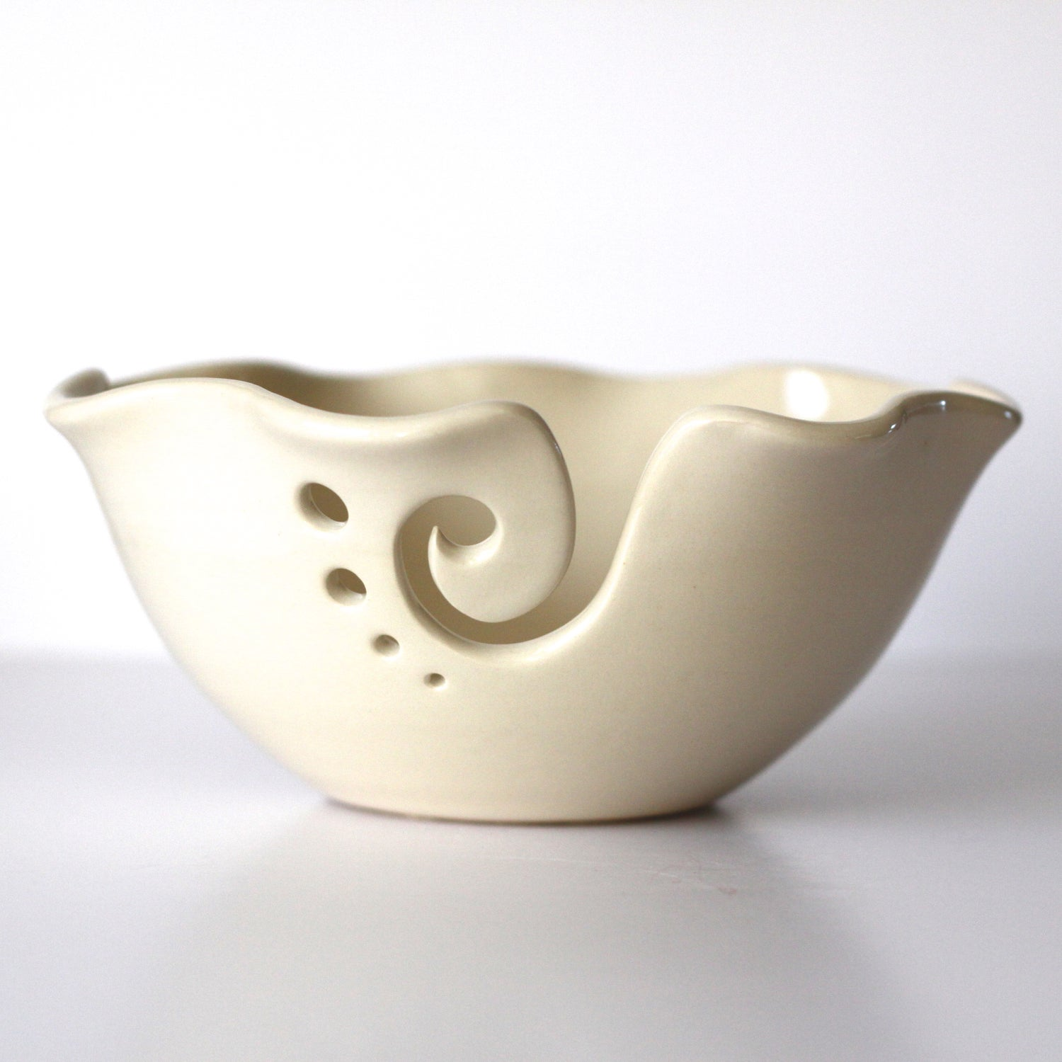 Image of White Ruffled Ceramic Yarn Bowl, Knitting Bowl, Crochet Bowl, Pottery Yarn Bowl, Ready to Ship