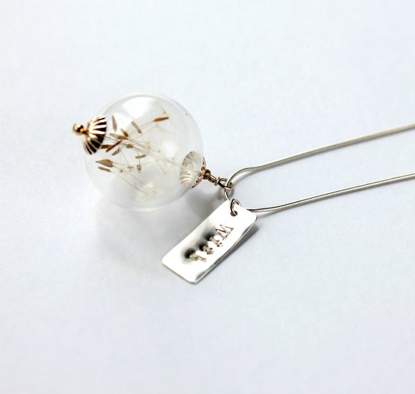 Sterling Silver Dandelion Seed Wish Necklace with Handstamped Charm - Laura Pettifar Designs