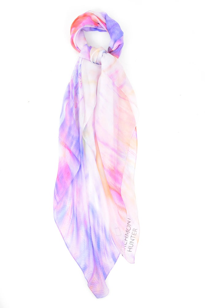 Image of Electric Dreams Purple Silk Chiffon Scarf