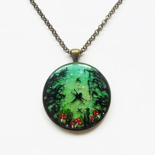 Image of Enchanted Fairy Forest Round Pendant
