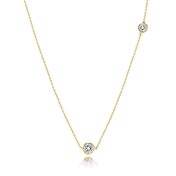 Image of Double Diamond Necklace, 18ct yellow gold