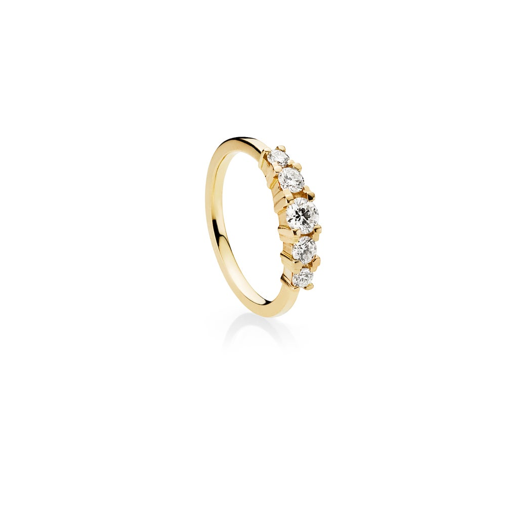 Image of Five Star Diamond Ring, 18K yellow gold