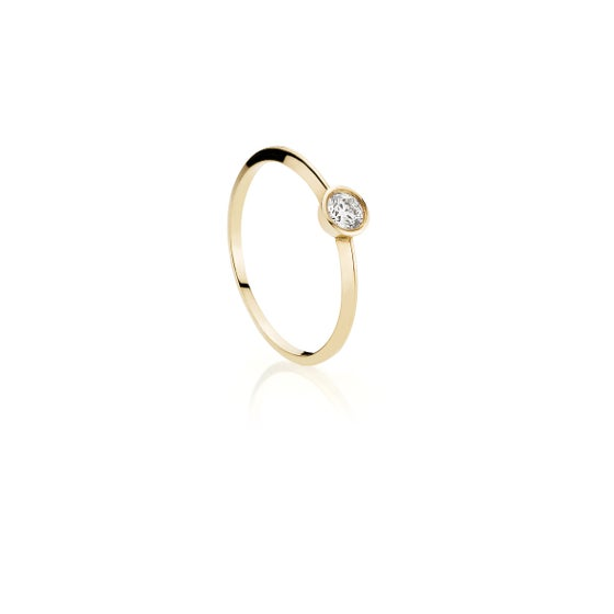 Image of Solitaire Diamond Ring, 18K yellow gold
