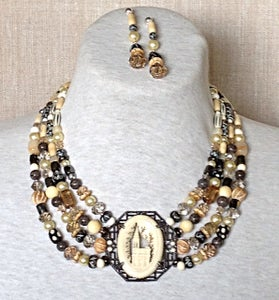 Image of Antique Ivory and bone necklace set