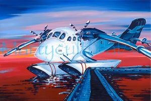 Image of Twin Otter at Sunset Open Edition Canvas Giclee