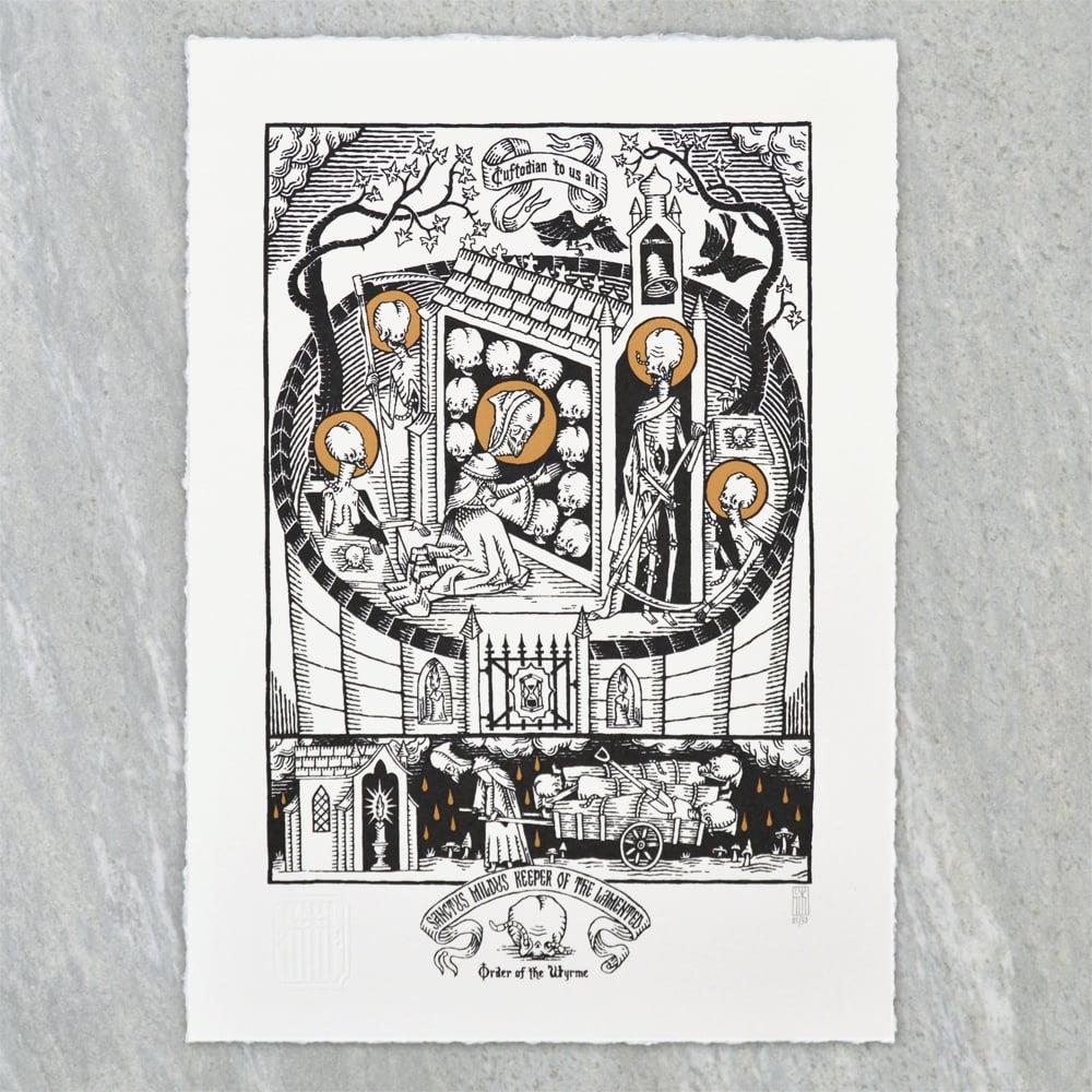 "Image of ""Sanctus Mildus Keeper of the Lamented"" Screen Print"