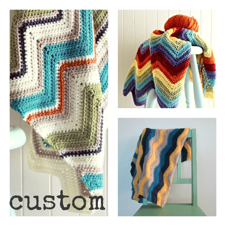 Image of CUSTOM crochet blanket | chevron zig zags