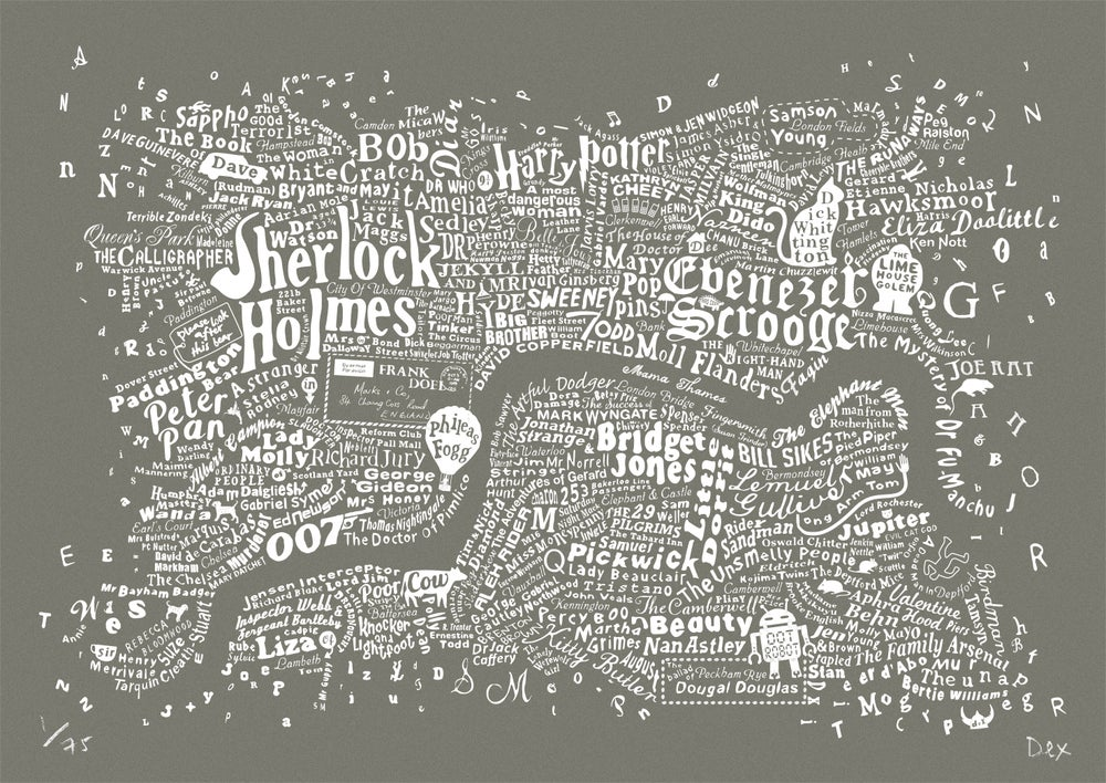 Literary Central London Map (grey screenprint)