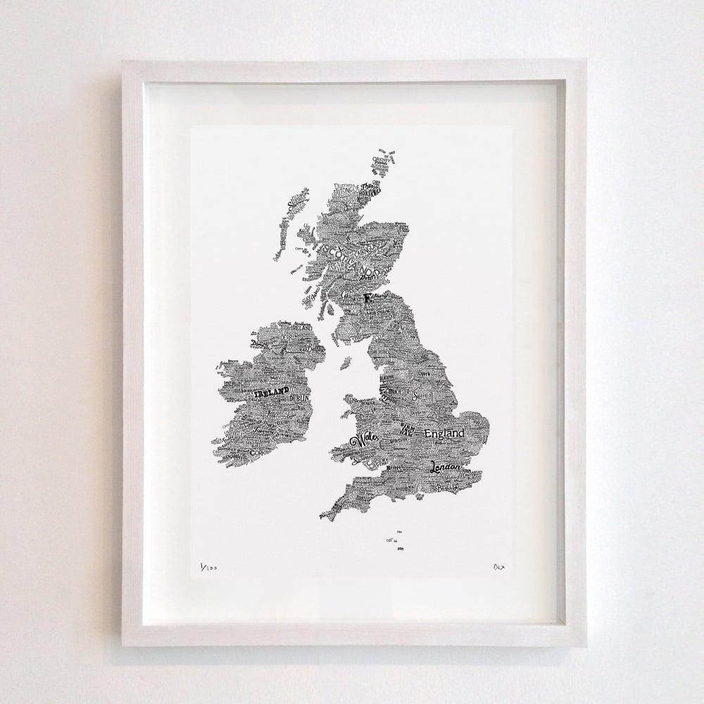 Great British Type Map (White)